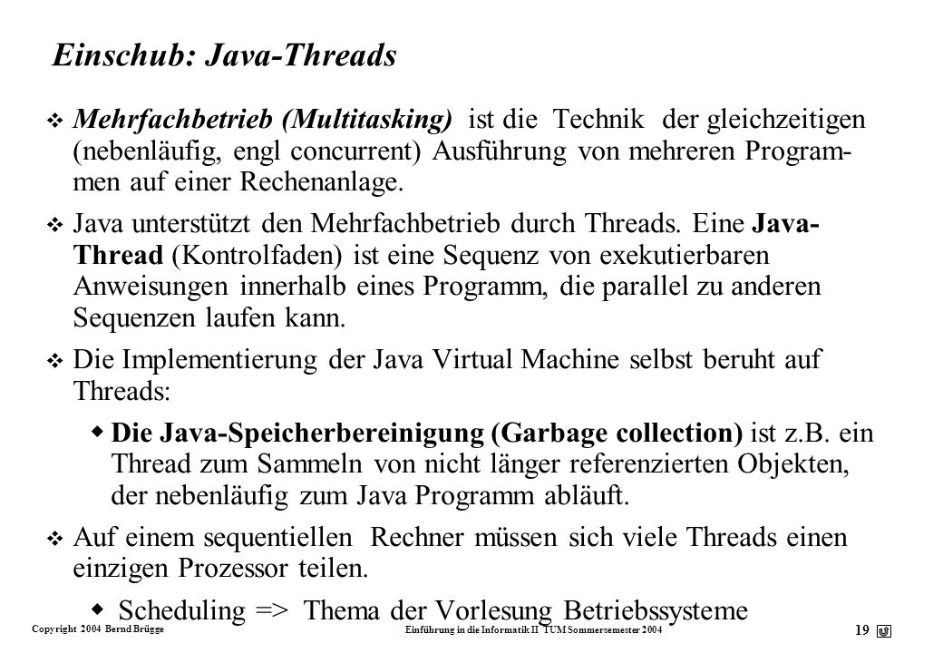 Einschub: Java-Threads