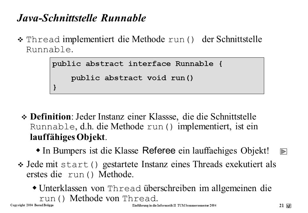 Java-Schnittstelle Runnable
