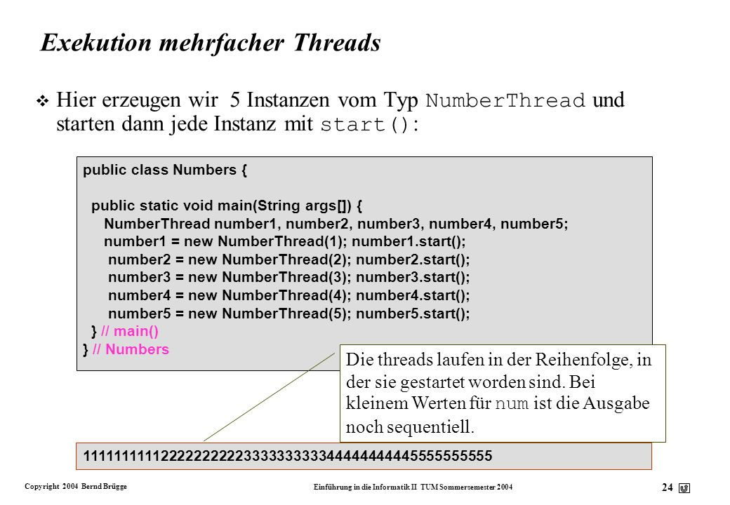 Exekution mehrfacher Threads