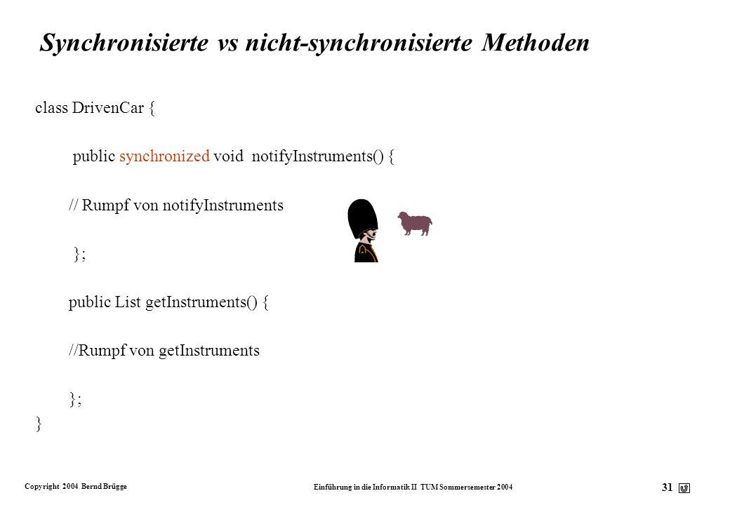 Synchronisierte vs nicht-synchronisierte Methoden