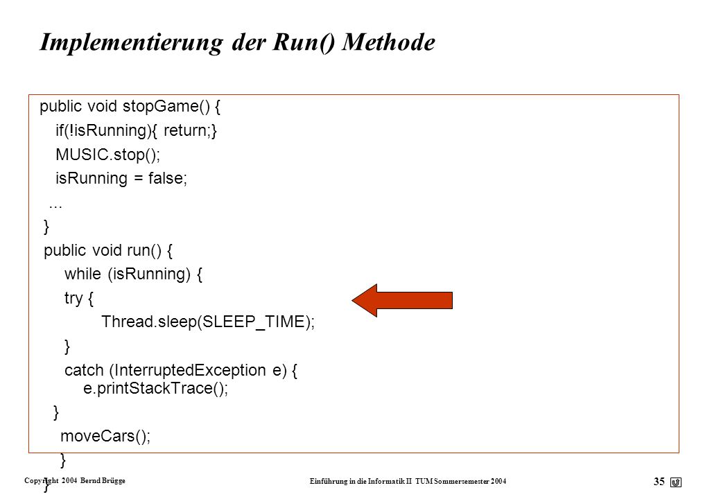 Implementierung der Run() Methode