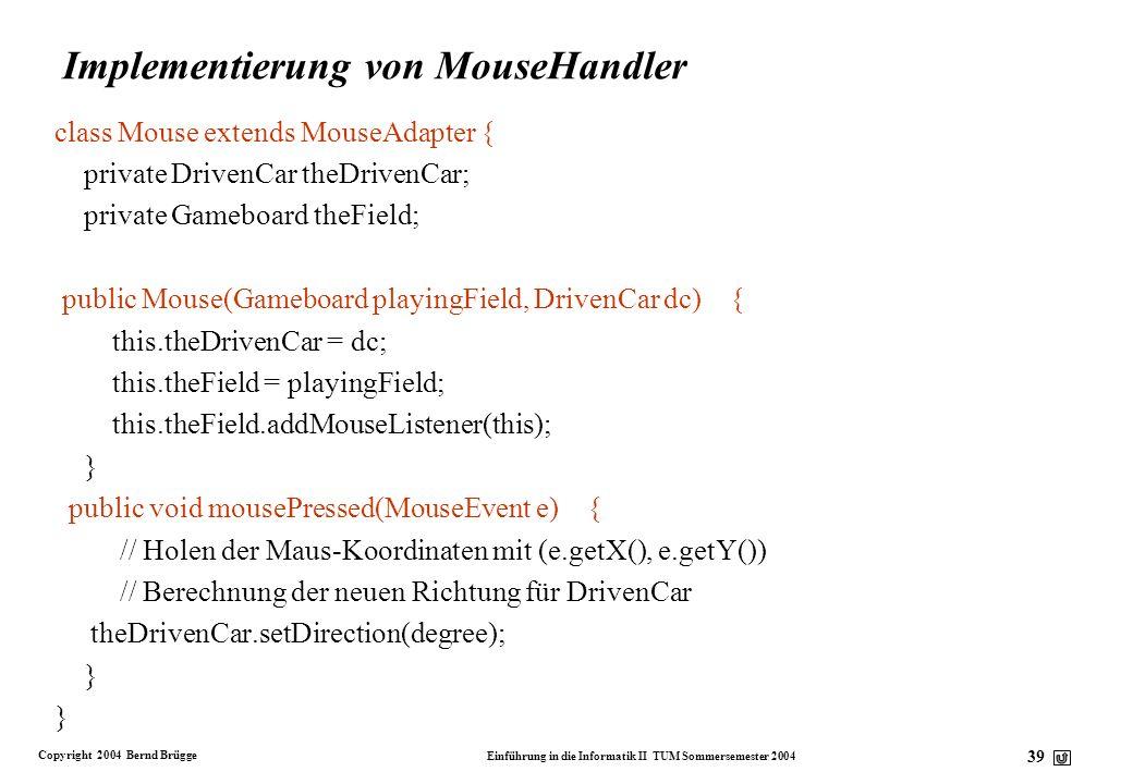 Implementierung von MouseHandler