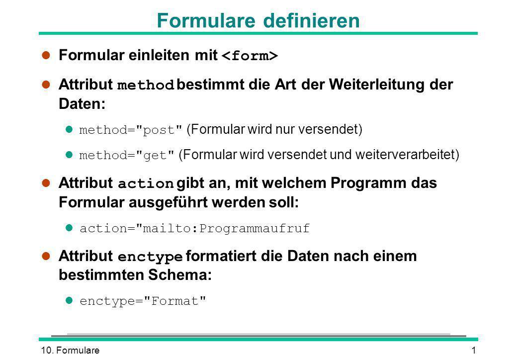 Formulare definieren Formular einleiten mit <form>