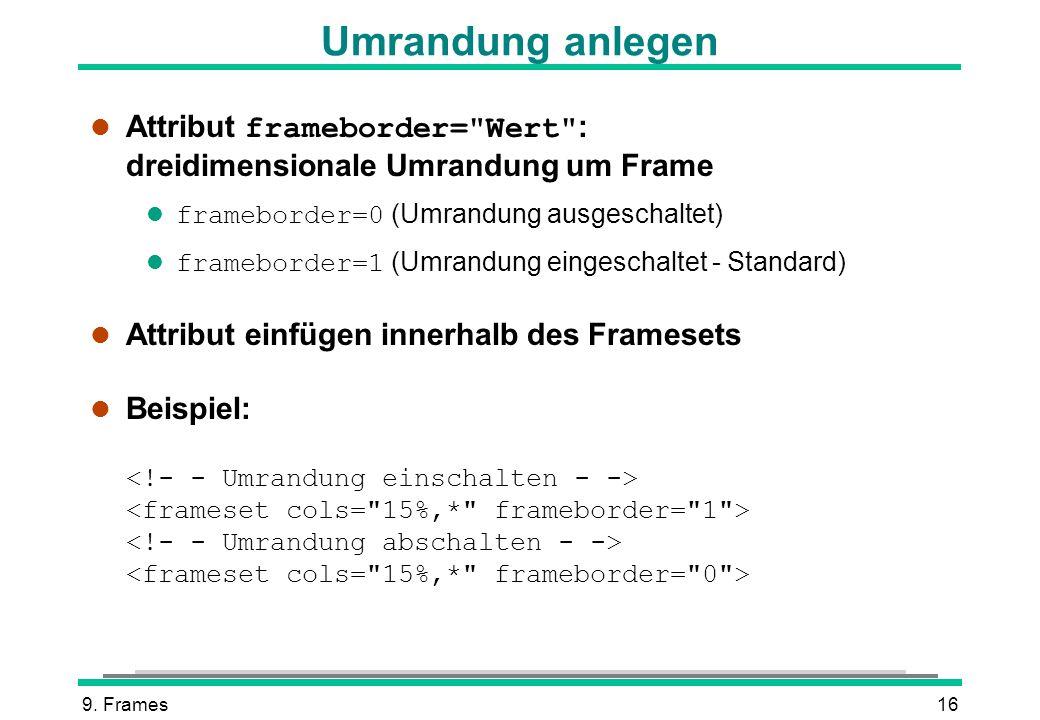 Umrandung anlegen Attribut frameborder= Wert : dreidimensionale Umrandung um Frame. frameborder=0 (Umrandung ausgeschaltet)