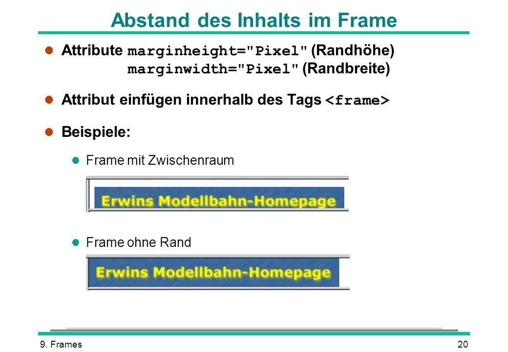Abstand des Inhalts im Frame