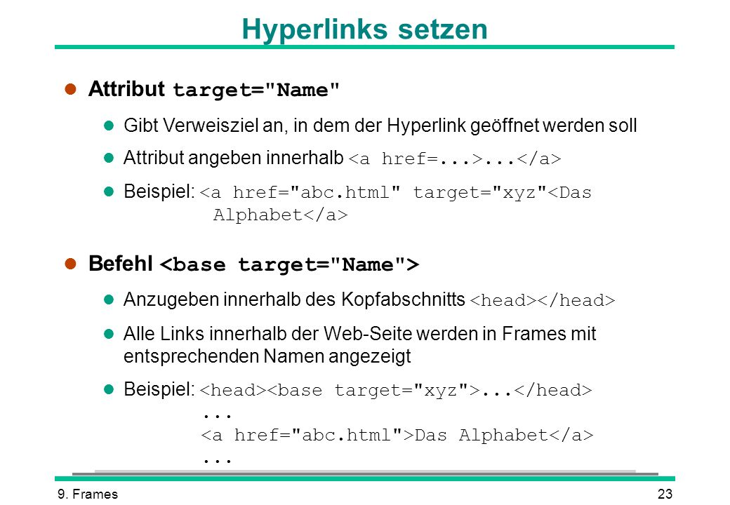 Hyperlinks setzen Attribut target= Name