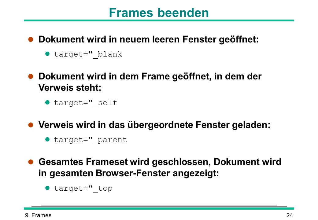 Frames beenden Dokument wird in neuem leeren Fenster geöffnet: