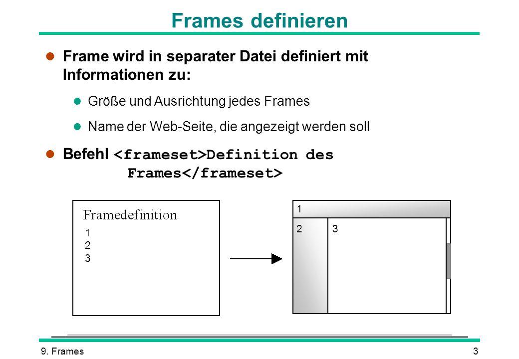 Frames definieren Frame wird in separater Datei definiert mit Informationen zu: Größe und Ausrichtung jedes Frames.