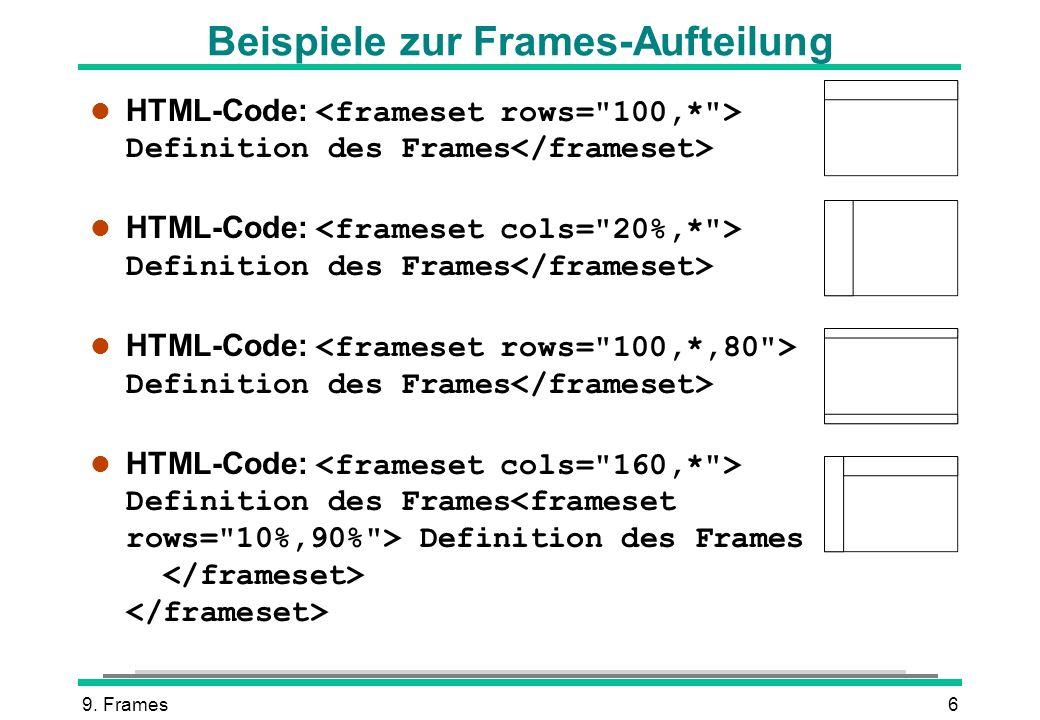 Beispiele zur Frames-Aufteilung