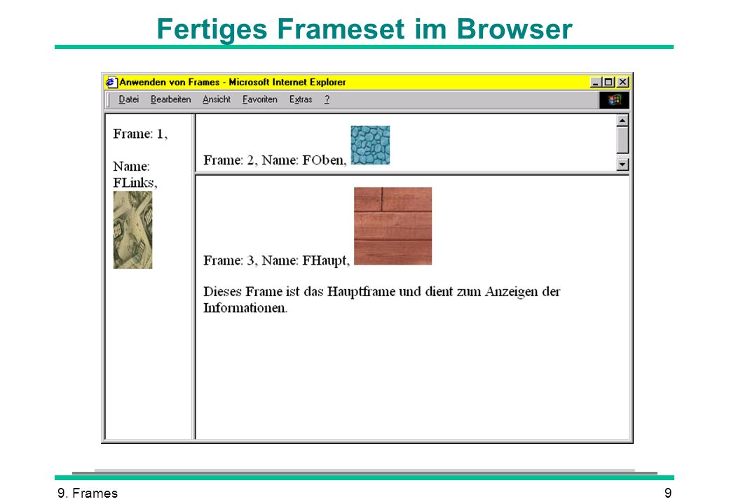 Fertiges Frameset im Browser