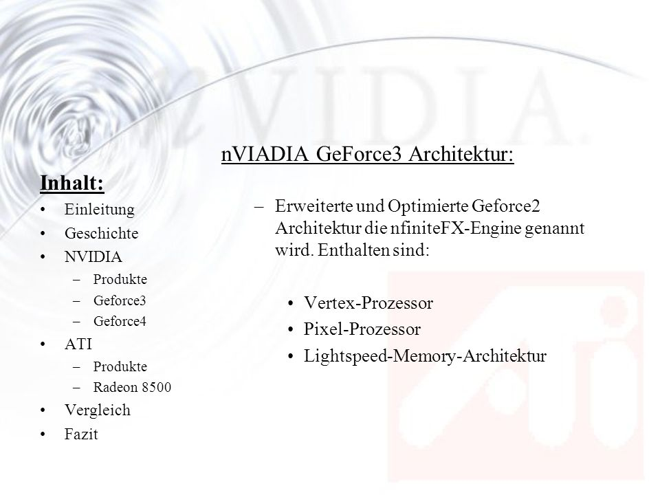 nVIADIA GeForce3 Architektur: