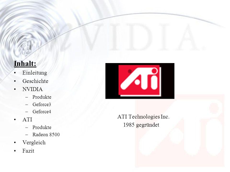 Inhalt: Einleitung Geschichte NVIDIA ATI Technologies Inc.
