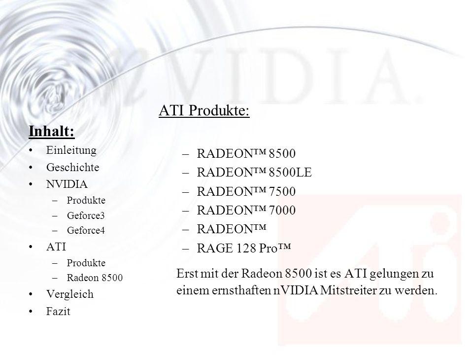 ATI Produkte: RADEON™ 8500. RADEON™ 8500LE. RADEON™ 7500. RADEON™ 7000. RADEON™ RAGE 128 Pro™