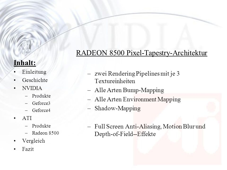 RADEON 8500 Pixel-Tapestry-Architektur