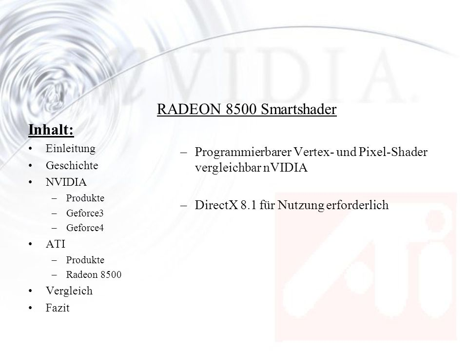 RADEON 8500 Smartshader Inhalt: