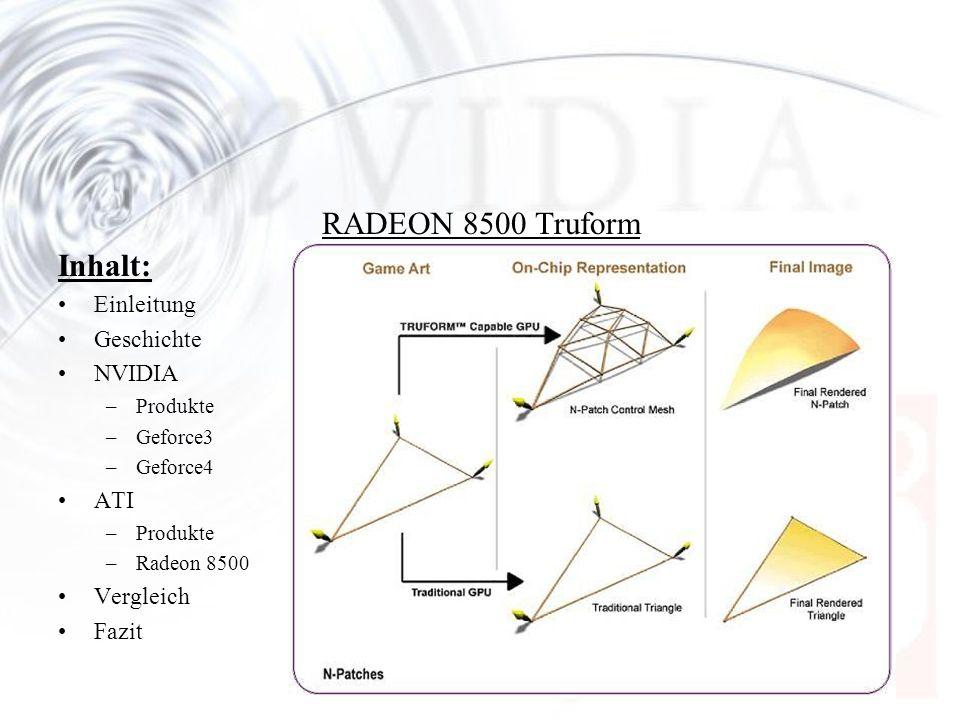 RADEON 8500 Truform Inhalt: Einleitung Geschichte NVIDIA ATI Vergleich