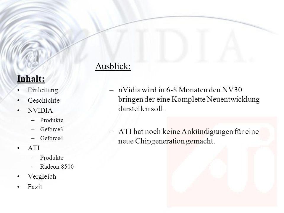 Ausblick: nVidia wird in 6-8 Monaten den NV30 bringen der eine Komplette Neuentwicklung darstellen soll.