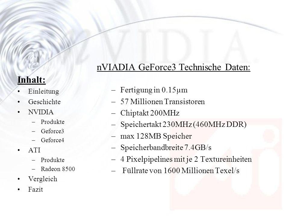 nVIADIA GeForce3 Technische Daten:
