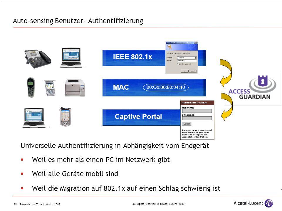Auto-sensing Benutzer- Authentifizierung