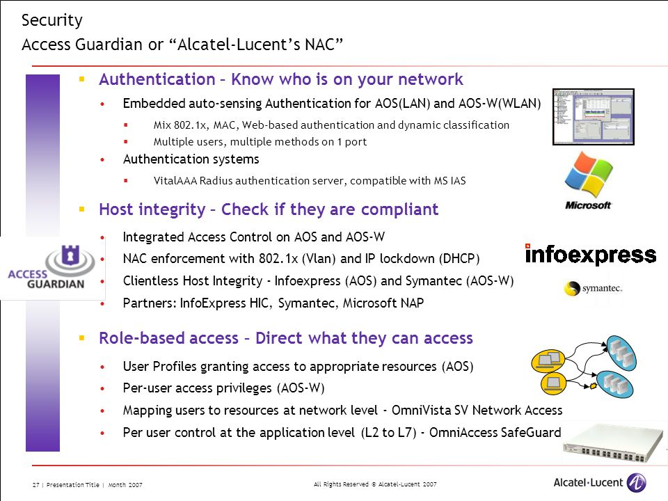 Security Access Guardian or Alcatel-Lucent's NAC