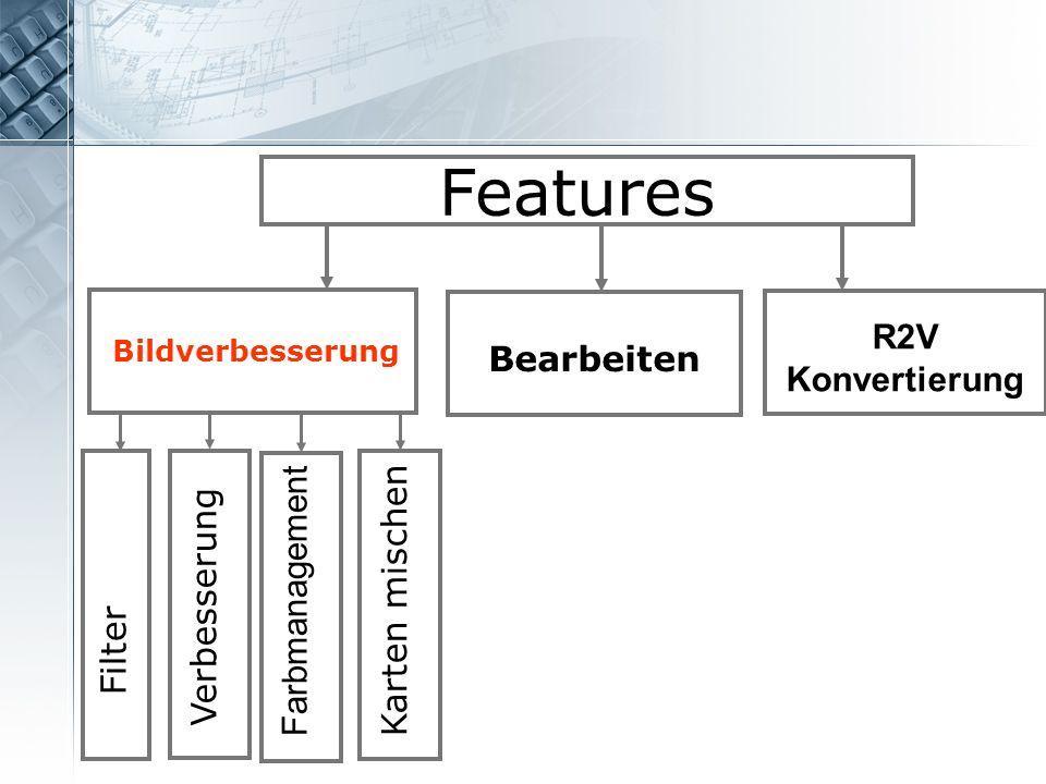 Features R2V Konvertierung Bearbeiten Farbmanagement Karten mischen