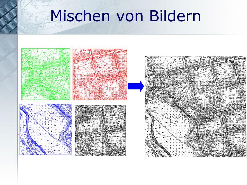 Mischen von Bildern + = In RxSpotlight können Sie Rastergrafiken montieren