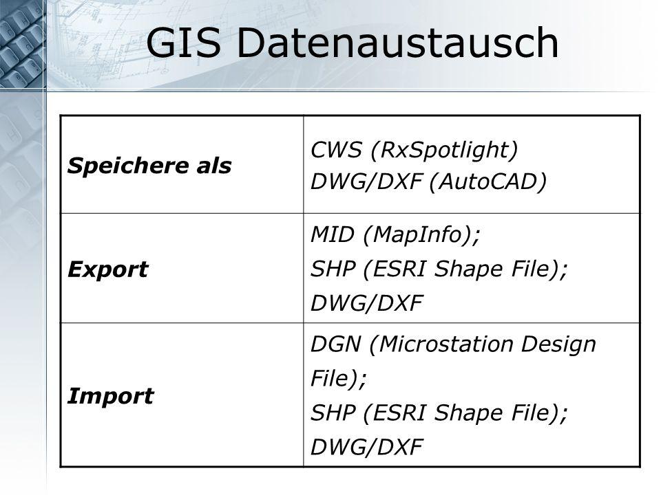 GIS Datenaustausch CWS (RxSpotlight) Speichere als DWG/DXF (AutoCAD)
