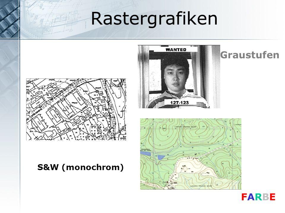 Rastergrafiken Graustufen S&W (monochrom) FARBE