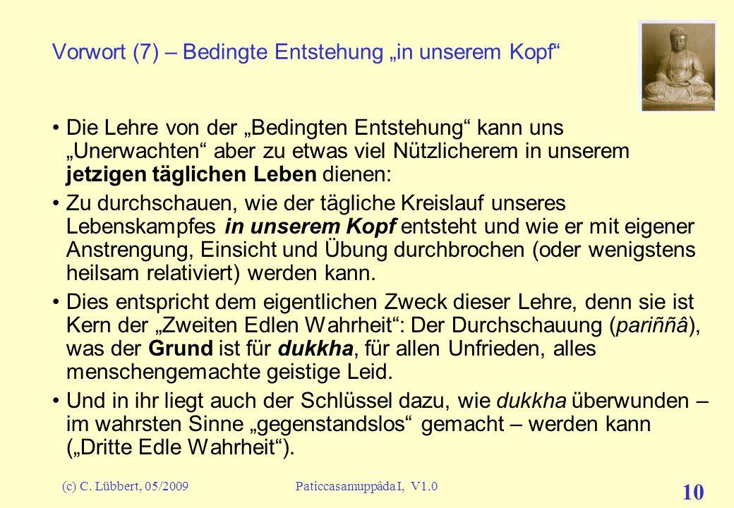 """Vorwort (7) – Bedingte Entstehung """"in unserem Kopf"""