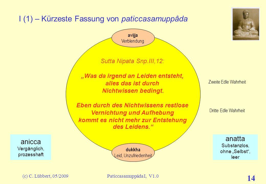I (1) – Kürzeste Fassung von paticcasamuppâda
