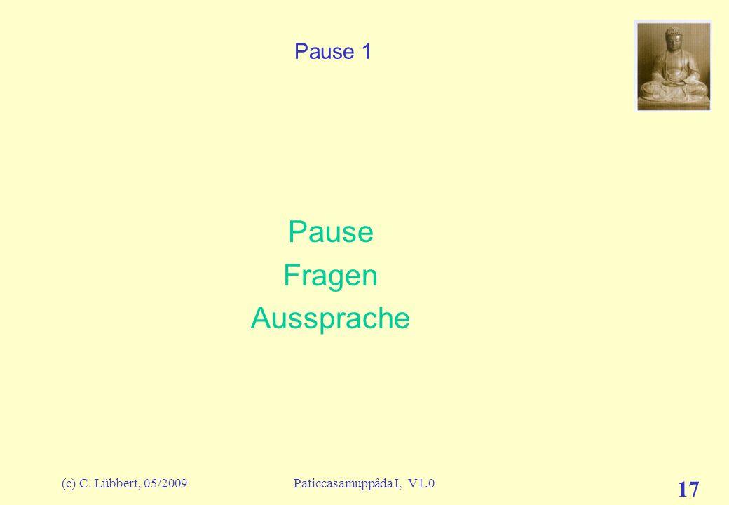 Pause Fragen Aussprache Pause 1 (c) C. Lübbert, 05/2009
