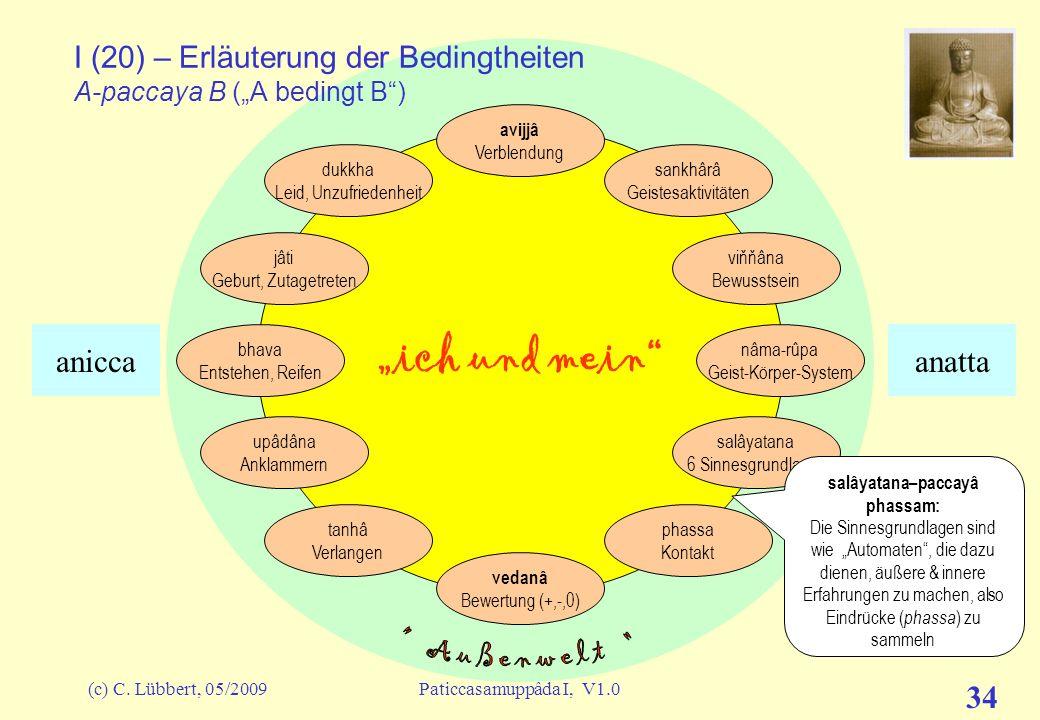 """I (20) – Erläuterung der Bedingtheiten A-paccaya B (""""A bedingt B )"""