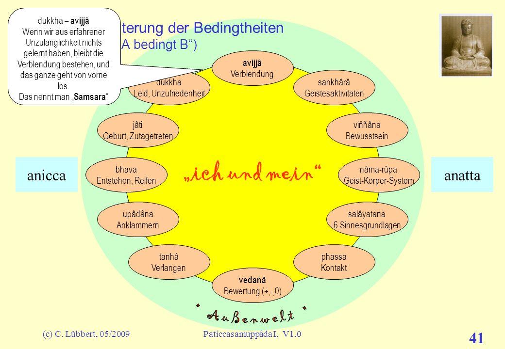 """I (27) – Erläuterung der Bedingtheiten A-paccaya B (""""A bedingt B )"""