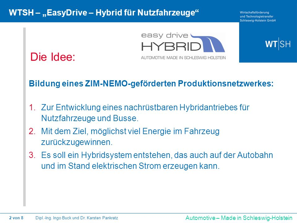 """Die Idee: WTSH – """"EasyDrive – Hybrid für Nutzfahrzeuge"""