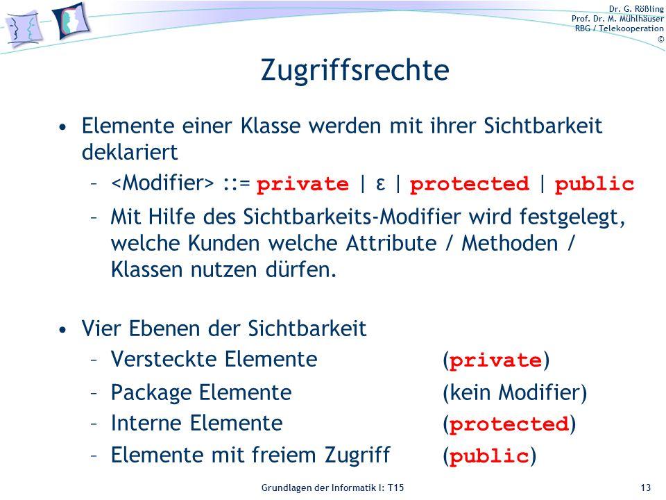 Zugriffsrechte Elemente einer Klasse werden mit ihrer Sichtbarkeit deklariert. <Modifier> ::= private | ε | protected | public.