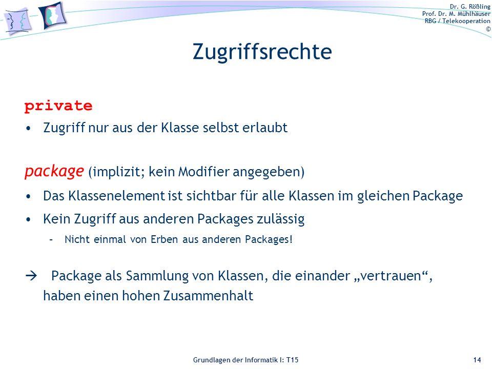 Zugriffsrechte private package (implizit; kein Modifier angegeben)