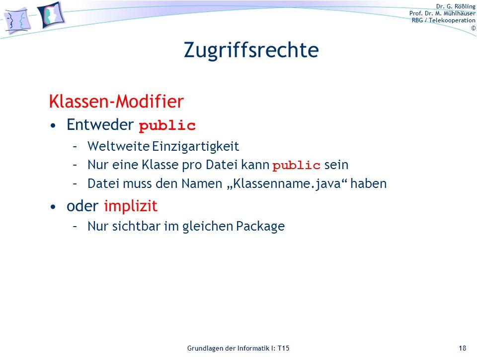 Zugriffsrechte Klassen-Modifier Entweder public oder implizit