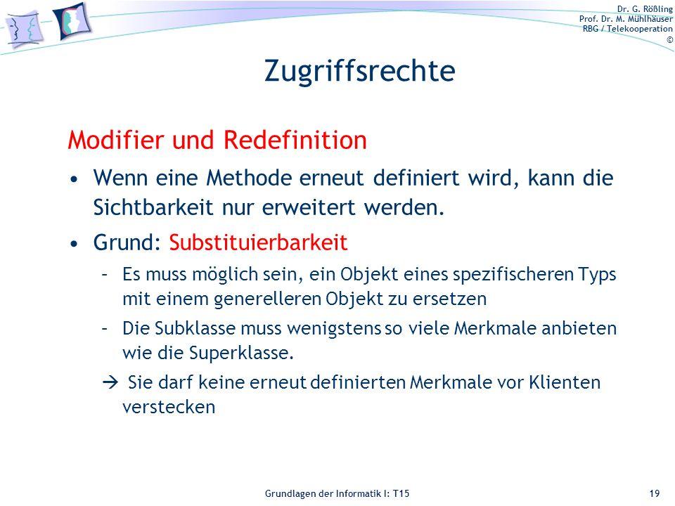 Zugriffsrechte Modifier und Redefinition