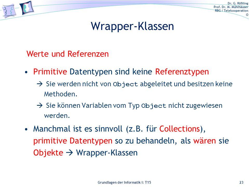 Wrapper-Klassen Werte und Referenzen