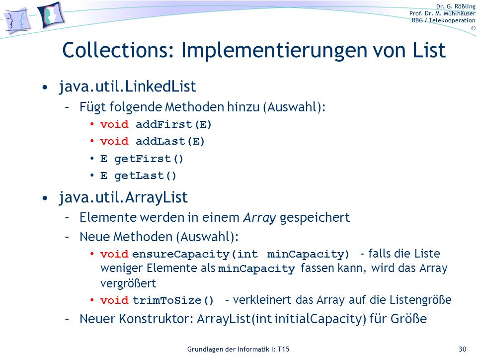 Collections: Implementierungen von List