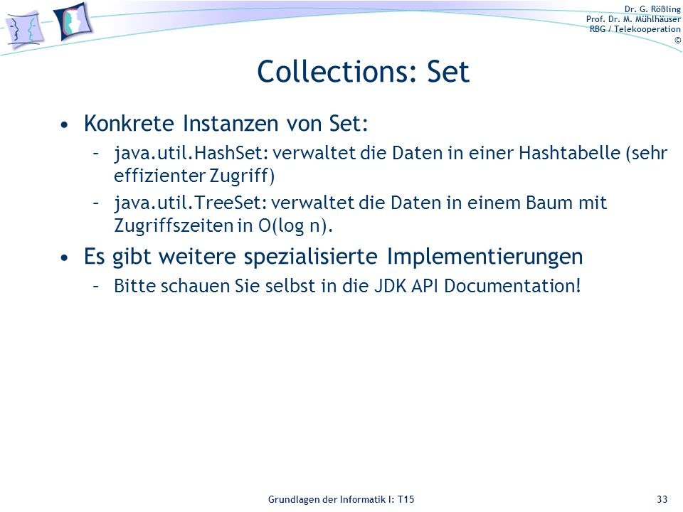 Collections: Set Konkrete Instanzen von Set: