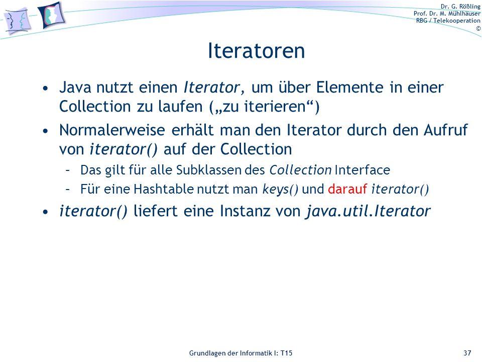 """Iteratoren Java nutzt einen Iterator, um über Elemente in einer Collection zu laufen (""""zu iterieren )"""