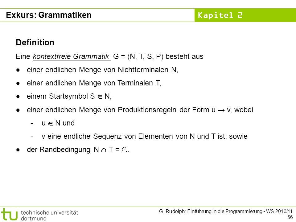 Exkurs: Grammatiken Definition