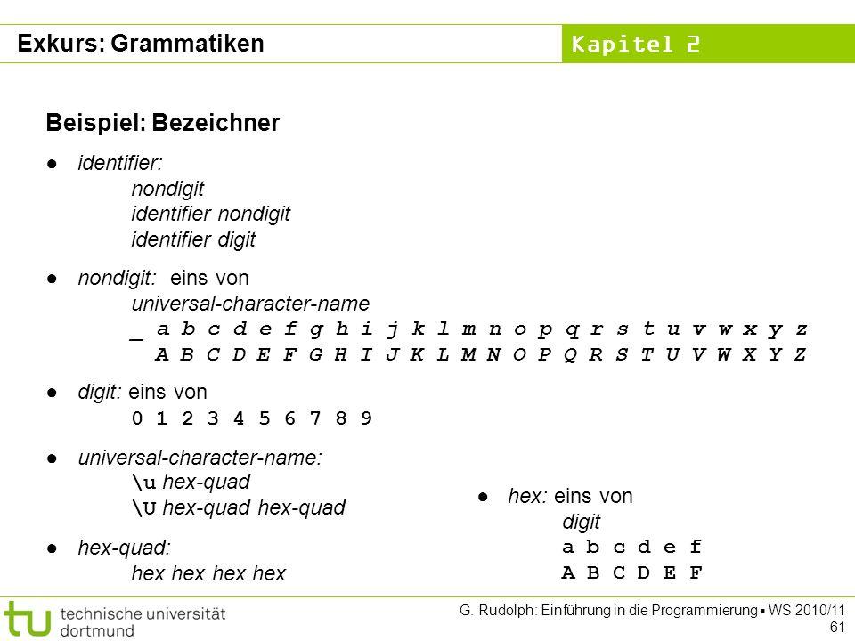 Exkurs: Grammatiken Beispiel: Bezeichner