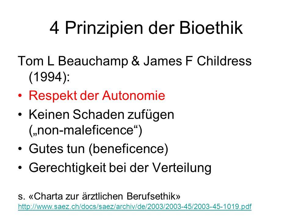 4 Prinzipien der Bioethik