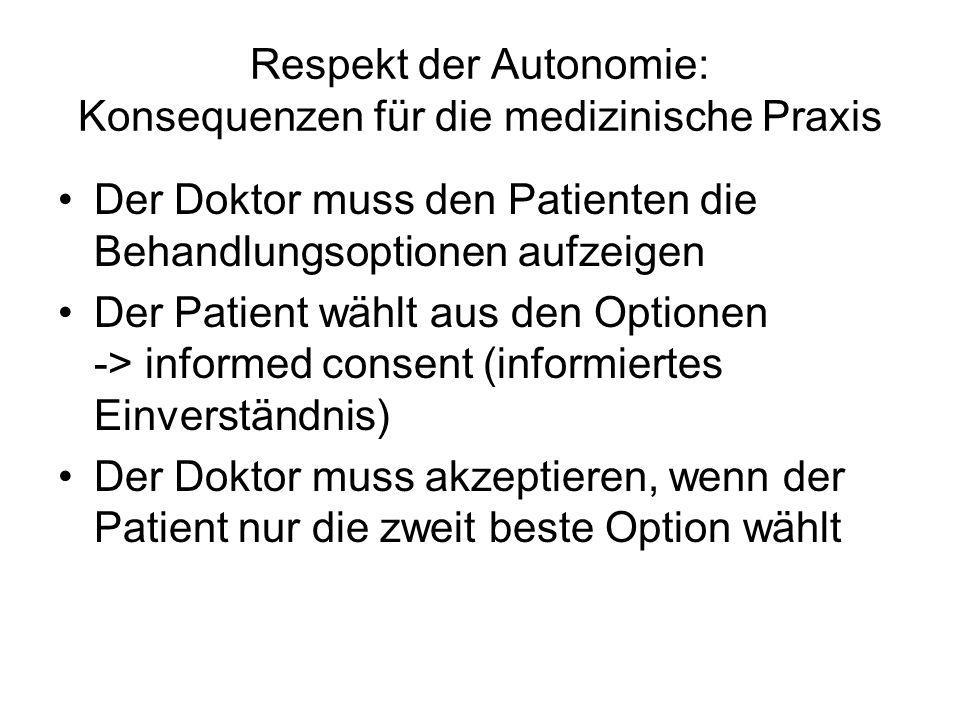 Respekt der Autonomie: Konsequenzen für die medizinische Praxis