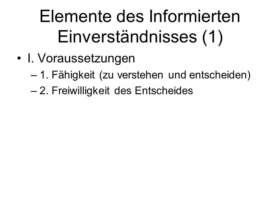 Elemente des Informierten Einverständnisses (1)