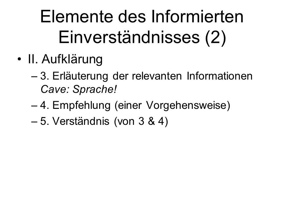 Elemente des Informierten Einverständnisses (2)