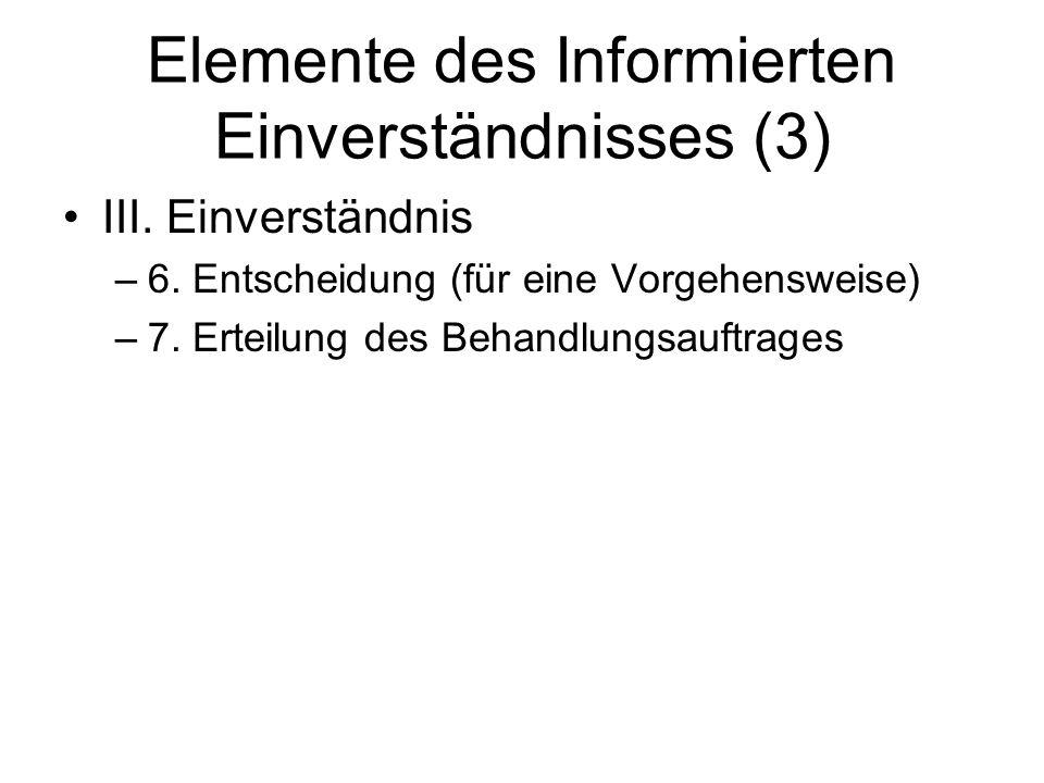 Elemente des Informierten Einverständnisses (3)