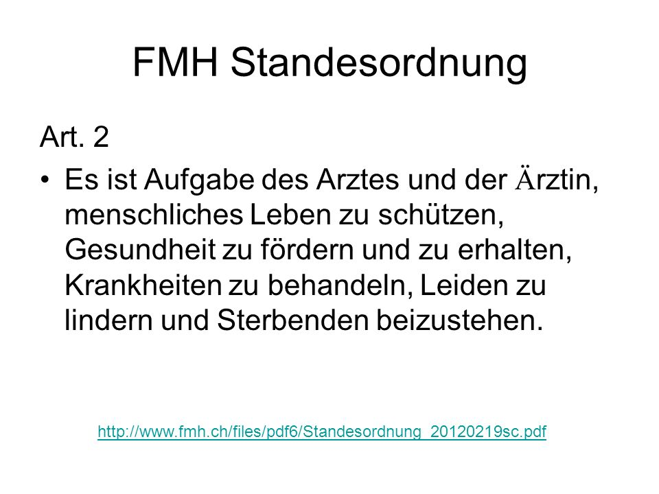 FMH Standesordnung Art. 2